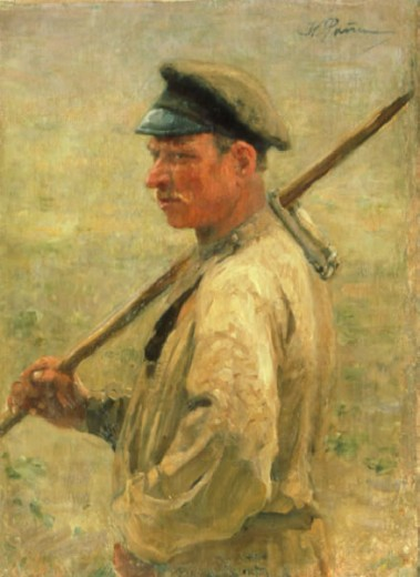 The Mower by II'ja Efimovic Repin, 1844-1930, Russia, Yaroslavl, Historical and Fine Art Museum : Stock Photo