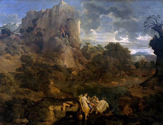 Landscape With Hercules and Cacus by Nicolas Poussin, oil on canvas, 1660, 1594-1665, Russia, Moscow, Pushkin Museum of Fine Arts : Stock Photo