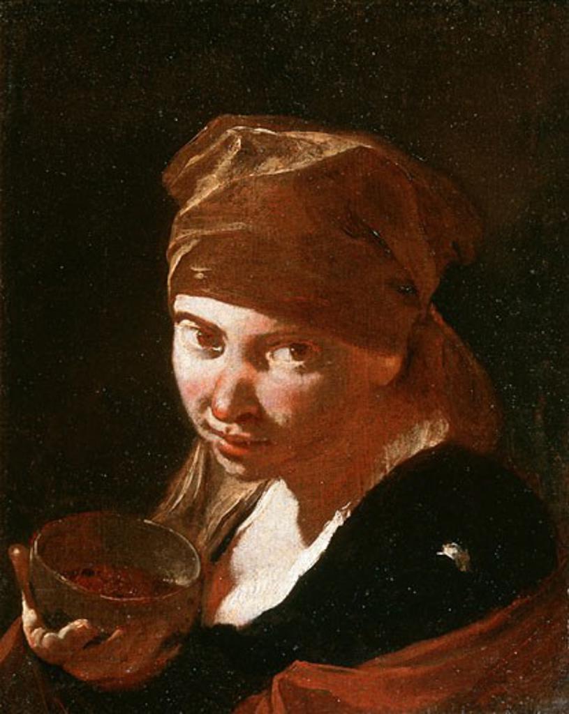 Head Of A Girl Giovanni Battista Piazzetta (1682-1754 Italian) Oil On Canvas : Stock Photo