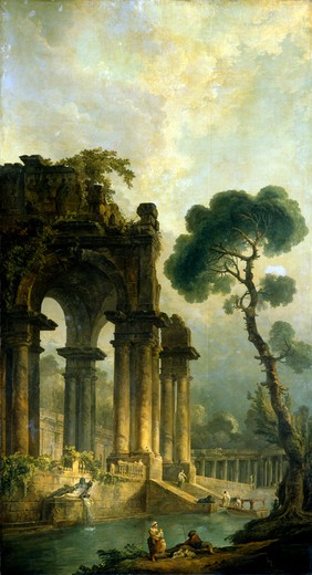 Stock Photo: 1249-332 Russia, Arkhangelsk, Arkhangelskoye Estate Museum, Ruins By the Water by Hubert Robert, oil painting, 1779, (1733-1808)