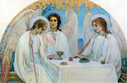 Stock Photo: 1249-338 Old Testament Trinity by Mikhail Vasil'evich Nesterov, 1862-1942, Russia, Kostroma Artistic Museum