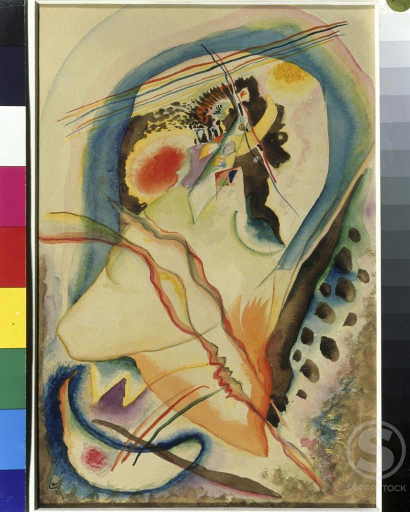 Objectless Painting by Vasily Kandinsky, 1915, 1866-1944, Russia, Ryazan Artistic Museum : Stock Photo