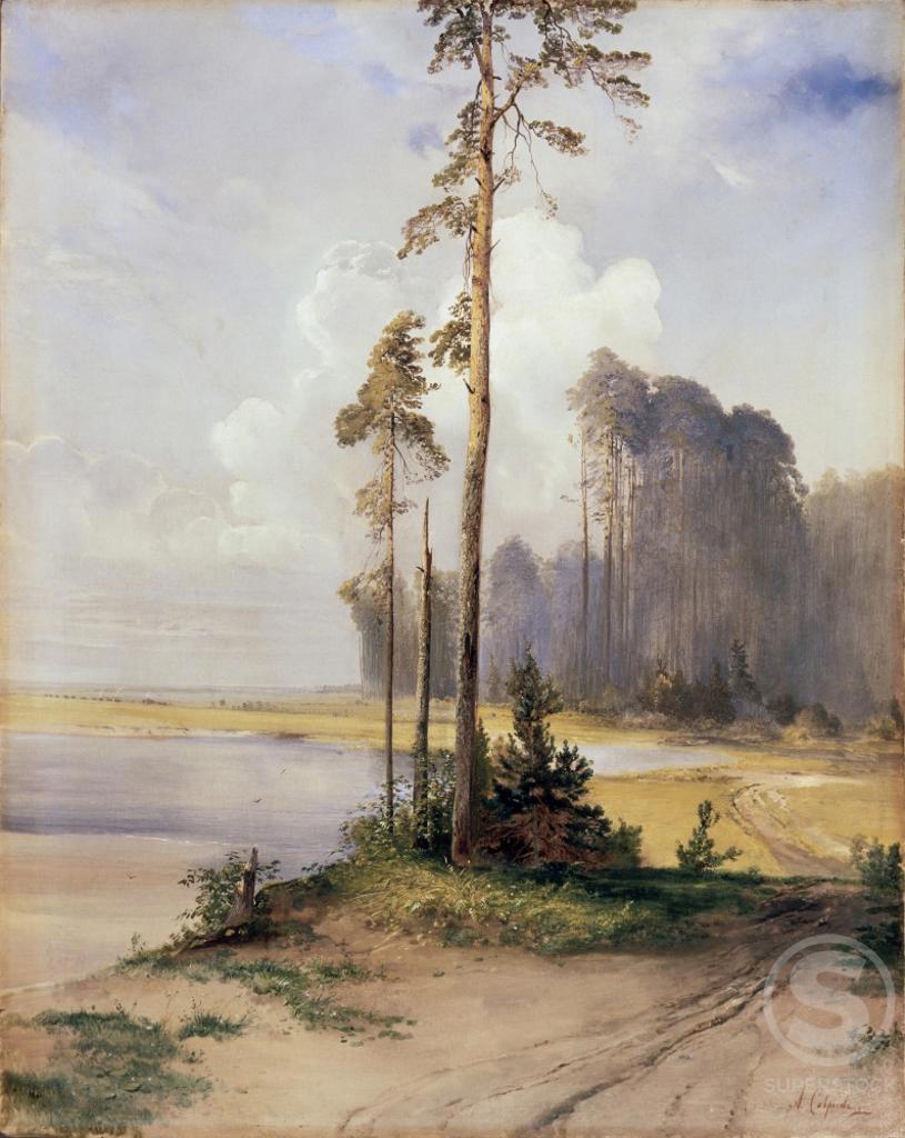 Summer Landscape With Pine Trees Aleksej Kondrat'evic Savrasov (1830-1897 Russian) Yaroslavl Artistic Museum, Russia  : Stock Photo