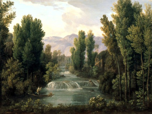 Landscape with Waterfall by Fedor Mihajlovic Mateev, 1758-1826, Russia, Yaroslavl, Historical and Fine Art Museum : Stock Photo