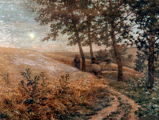 Stock Photo: 1249-377 Russia, Kostroma, Kostroma State Union Art Museum, Evening Landscape by Konstantin Bogayevsky, gouche on cardboard, 1907, (1872-1943)