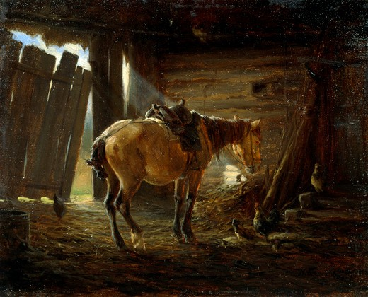 Stock Photo: 1249-392 Horse in Peasant Stables by Nikolai Alekseevich Bogatov, oil on canvas, 19th century, Russia, Moscow, The State Tretyakov Gallery