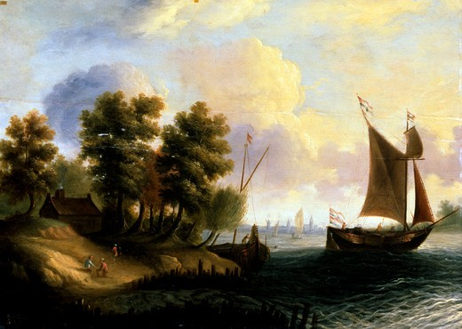 Ukraine, Sevastopol, Sevastopol Art Museum, Seaside Landscape by unknown artis, oil on wood, 17th century : Stock Photo