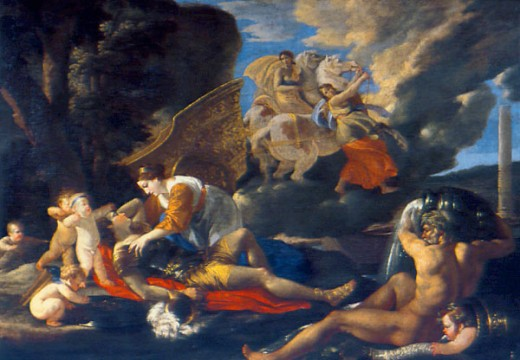 Rinaldo and Armida by Nicolas Poussin, 1594-1665, Russia, Moscow, Pushkins Museum of Fine Arts : Stock Photo