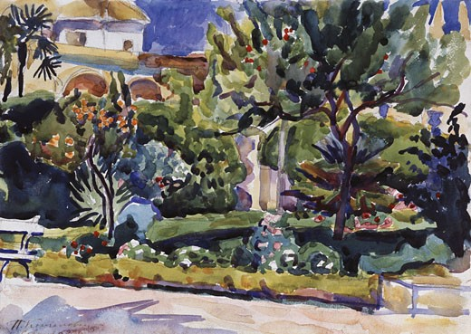 Stock Photo: 1249-434 Sevilia by Petr Petrovic Koncalovskij, watercolor on paper, 1910, 1876-1955