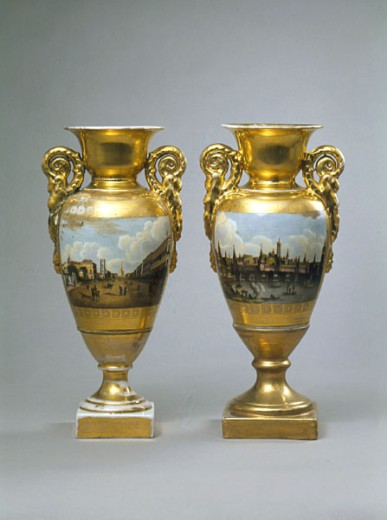 Vases with Views of the Moscow Kremlin and Neva in St. Petersburg from Batenin Facotry, Antique Decorative Arts, Russia, Moscow, State Historical Museum : Stock Photo
