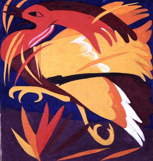 Phoenix, From The Reaping (9 Part Polyptych) by Natalija Goncarova Sergeevna, 1881-1962, Russia, Moscow, Tretyakov Gallery : Stock Photo