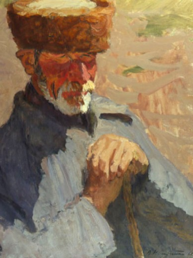 The Old Balkar by V.K. Nechitaylo, 1968, Russia, Tomsk Regional Arts Museum : Stock Photo