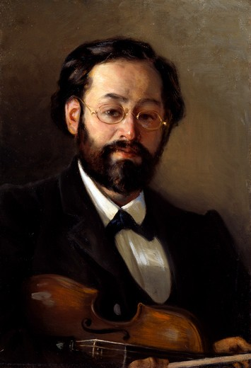 Russia, Tomsk Oblast Art Museum, Portrait of Violinist V. G. Valter by Grigori Grigorievich Miasoyedov, oil on canvas, 1902, (1834-1911) : Stock Photo