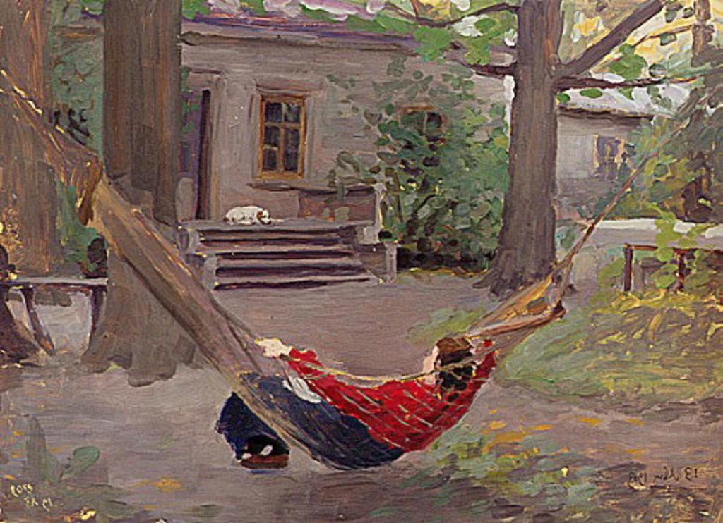 Stock Photo: 1249-564 In The Hammock by J.J. Kalinichenko, 1903, 20th century art