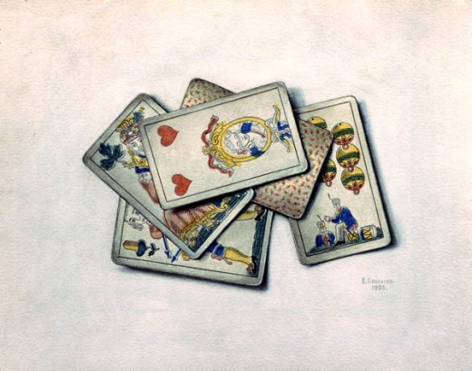 Stock Photo: 1249-567 Still Life With Playing Cards by V.P. Sokolov, 1903, 20th century art, Russia, Ryazan, Ryazan Artistic Museum