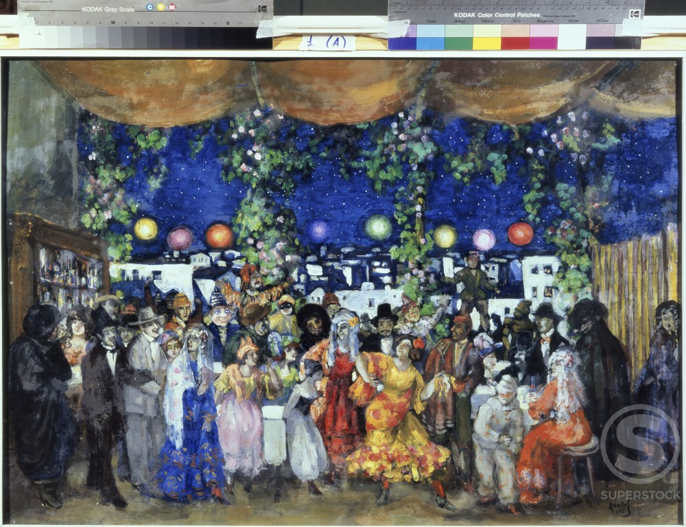 Stock Photo: 1249-568 Carnival In Spain by Anatoly Arapov, oil on cardboard, 1911, 1876-1949, Russia, Ryazan Artistic Museum