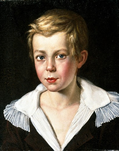 Portrait of a Boy With a White Collar by unknown artist, oil on canvas, 19th century, Russia, Vologda regional picture gallery : Stock Photo