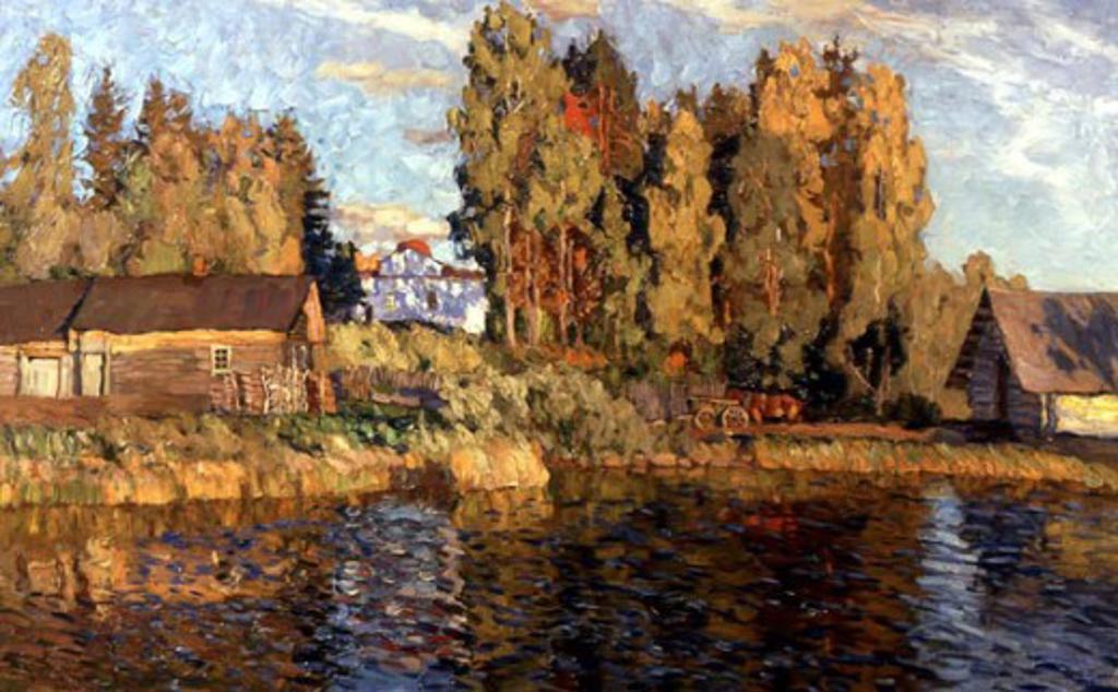 Towards Evening by Stanislav Julianovic Jukovsky, 1910, 1875-1944, Russia, Vologda Regional Art Gallery : Stock Photo