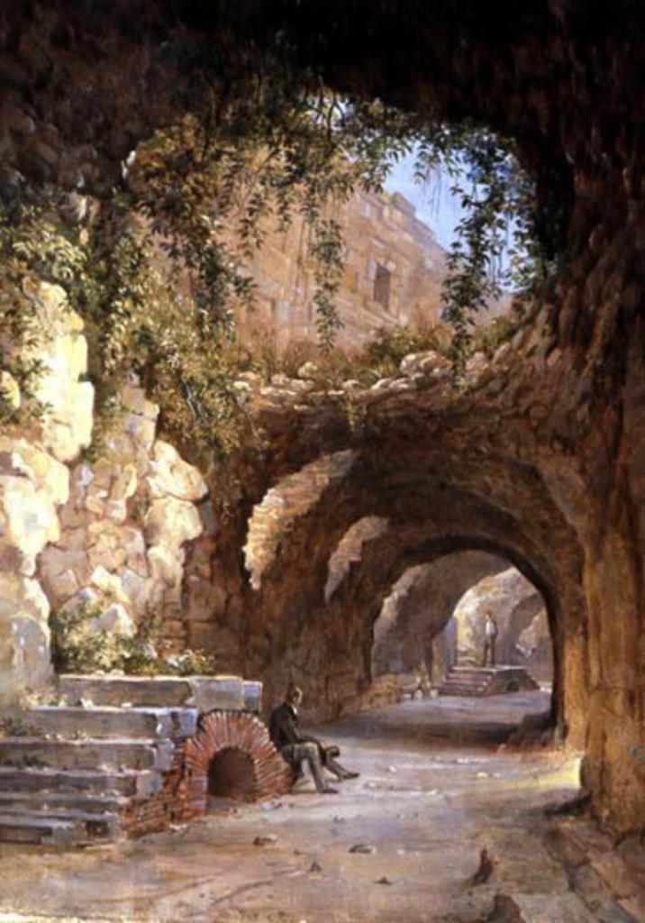 Grotto Near Rome by Nikanor G. Cherenetzov, (1805-1879), Russia, Vologda, Vologda Regional Art Gallery : Stock Photo