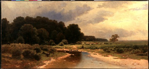 Summer Landscape with River, Lev Lvovich Kamenev, (1833-1866), Russia, Vologda, Vologda Regional Art Gallery : Stock Photo