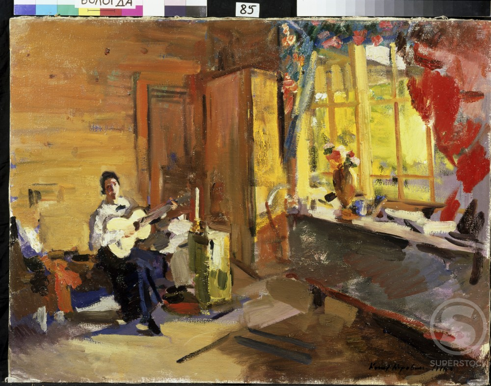 Stock Photo: 1249-649 Girl With Guitar 1916 Konstantin Alekseevic Korovin (1861-1939/Russian) Oil on canvas Vologda Regional Art Gallery, Russia