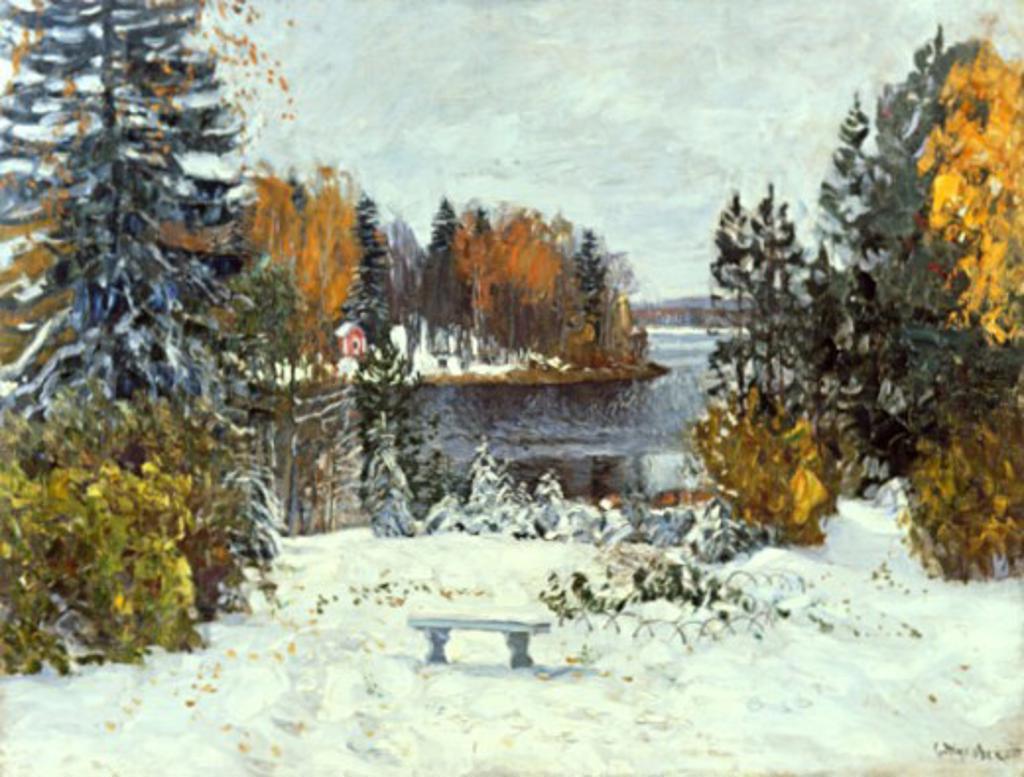 First Snowfall by Stanislav Julianovic Jukovsky, 1875-1944, Russia, Vologda Regional Art Gallery : Stock Photo