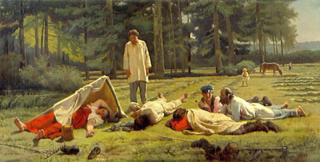 Stock Photo: 1249-676 Hay Harvesters Resting by Phirs Sergeevich Juravlev, (1836-1901), Russia, Vologda, Vologda Regional Art Gallery