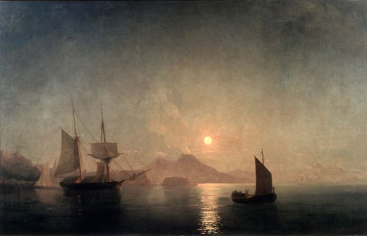 Stock Photo: 1249-688 View of Vesuvius in Moonlight