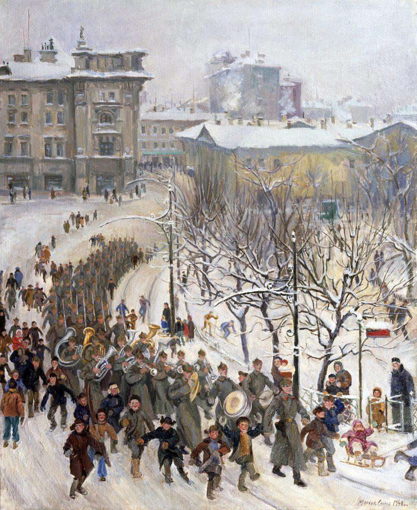 Stock Photo: 1249-692 Red Army Soldiers by Sergey Ivanovich Markin, 1940, 1903-1941, Russia, Vologda Regional Art Gallery
