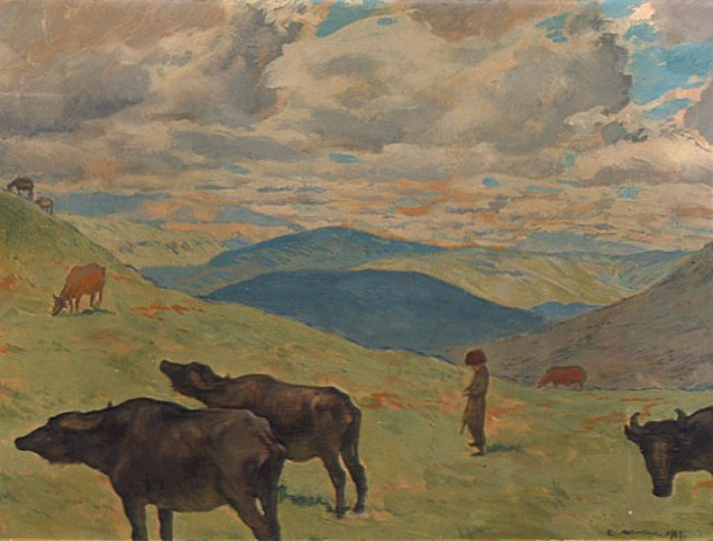 Landscape with Buffalo by Evgenij Evgen'evic Lansere, 1909, 1875-1945, Russia, Vologda Regional Art Gallery : Stock Photo