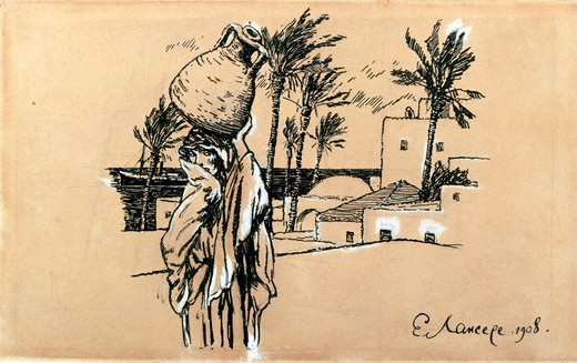 Stock Photo: 1249-694 Russia, Vologda regional picture gallery, Akulina in Tripoli by Yevgeny Evgenevic Lansere, ink on paper, 1908, (1875-1945)