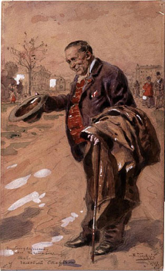 Stock Photo: 1249-696 Galant Old Man by Vladimir Egorovic Makovskij, 1919, (1846-1920), Russia, Vologda, Vologda Regional Art Gallery