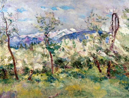 Russia, Altai, Cherry Trees by Vasily V. Rojdestvensky, oil on canvas, 1936, 1884-1963, Russia, Vologda Regional Art Gallery : Stock Photo