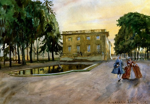 Thrianon by Alexandre Nikolaevic Benois, watercolor on paper, 1906, 1870-1960, Russia, Vologda Regional Art Gallery : Stock Photo
