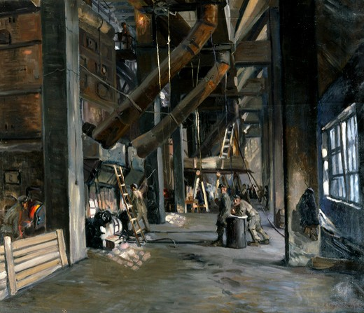 Kashira, Boiler Room of the First Soviet Electric Power Station by Nikolay B. Terpsikhorov, oil on canvas, 1924, 1890-1960, Russia, Vologda Regional Art Gallery : Stock Photo