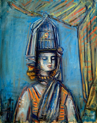 Stock Photo: 1249-744 Russia, Tver Regional Art Gallery, Girl With a Cage by Alexander Grigorevich Tishler, oil on canvas, 1929, (1898-1980)