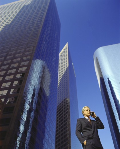 Stock Photo: 1260-248 Low angle view of a businessman talking on a mobile phone