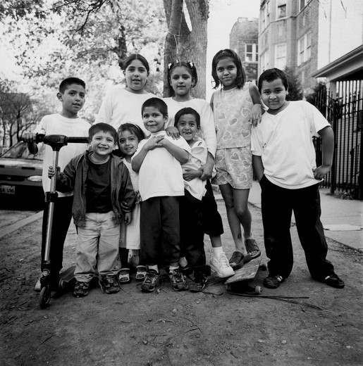 Group of Mexican-American children outdoors : Stock Photo
