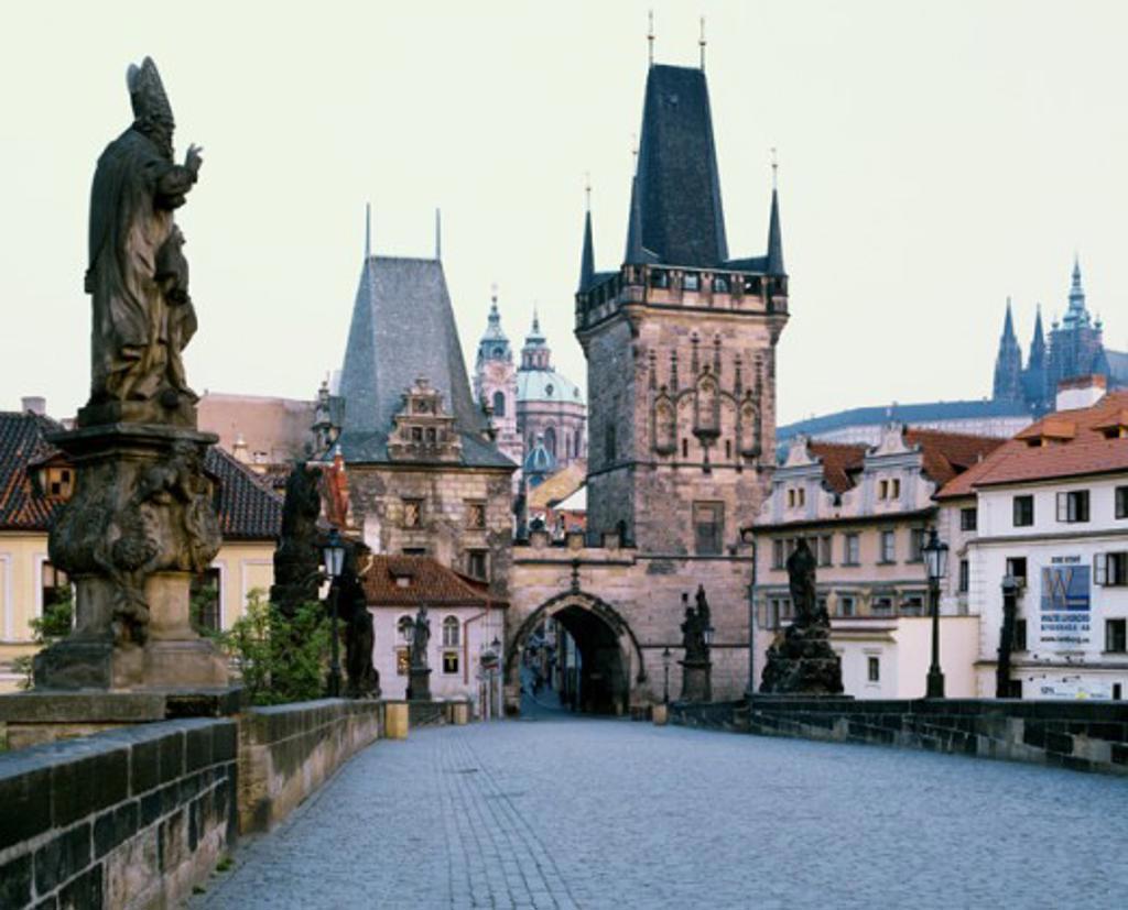 Statues on a bridge, Old Town Bridge Tower, Charles Bridge, Prague, Czech Republic : Stock Photo