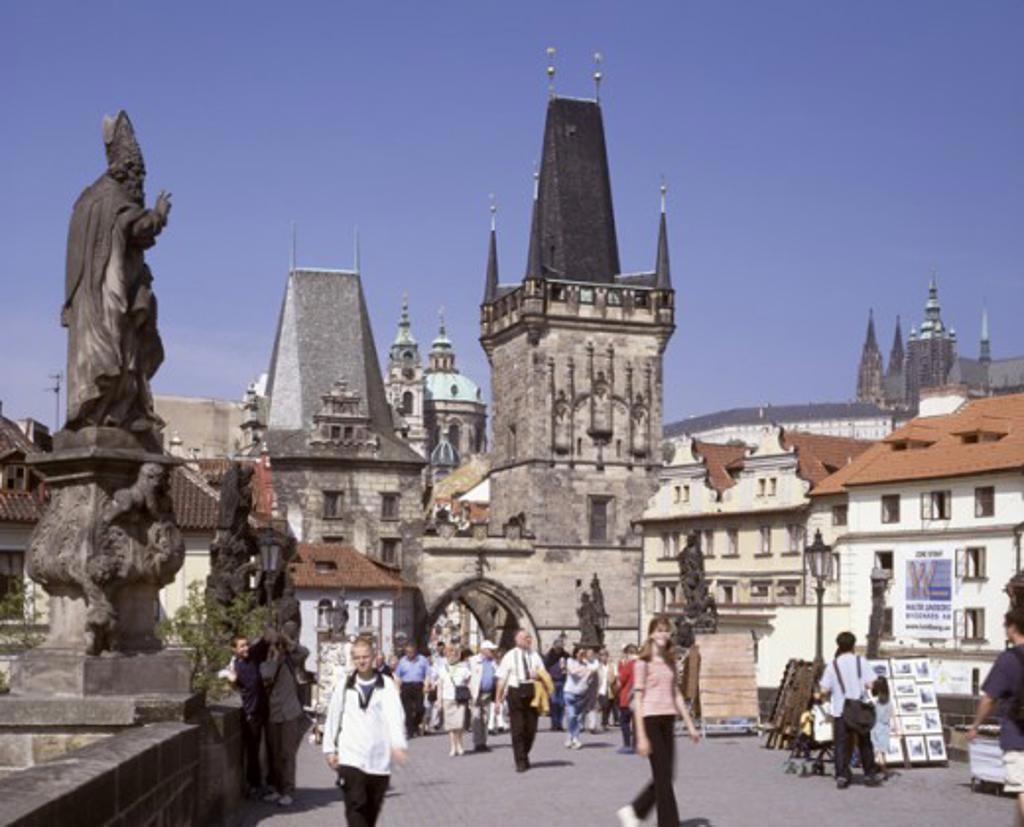 Tourists walking on a bridge, Old Town Bridge Tower, Charles Bridge, Prague, Czech Republic : Stock Photo
