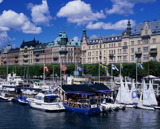 Stock Photo: 1269-1059 Boats docked in a harbor, Stockholm, Sweden