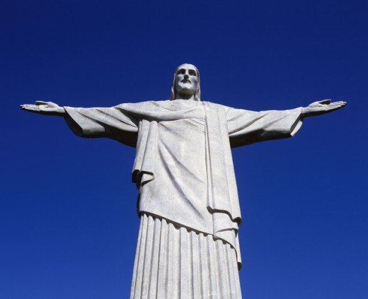 Low angle view of Christ the Redeemer Statue, Mount Corcovado, Rio de Janeiro, Brazil : Stock Photo