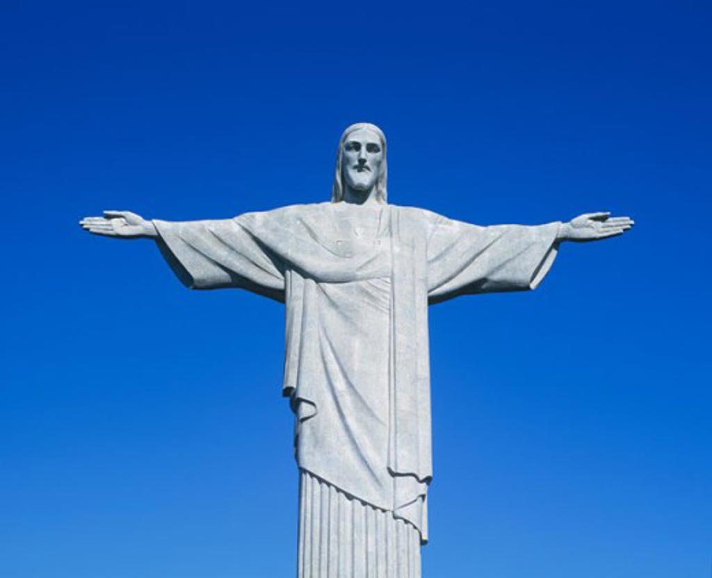 Stock Photo: 1269-1188B Low angle view of a statue, Christ the Redeemer Statue, Mount Corcovado, Rio de Janeiro, Brazil