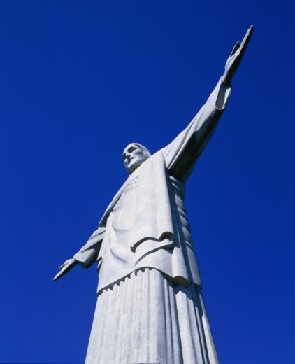 Low angle view of a statue, Christ the Redeemer Statue, Mount Corcovado, Rio de Janeiro, Brazil : Stock Photo