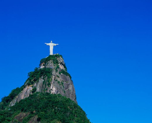 Stock Photo: 1269-1198 Low angle view of a statue on a top of a mountain, Christ the Redeemer Statue, Mount Corcovado, Rio de Janeiro, Brazil