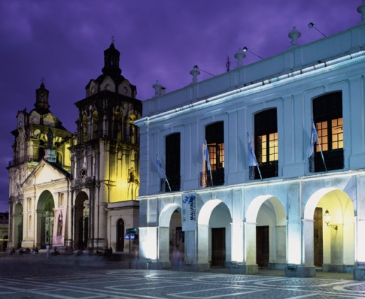 Stock Photo: 1269-1251 Buildings along a road lit up at night, Cabildo, Buenos Aires, Argentina