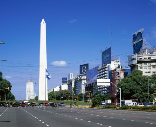 Stock Photo: 1269-1253 Obelisk along a road, 9th of July Avenue, Buenos Aires, Argentina