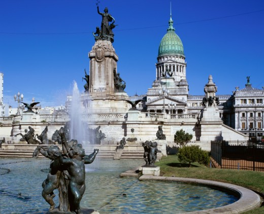 Stock Photo: 1269-1261A Fountain in front of a government building, Palacio del Congreso, Buenos Aires, Argentina