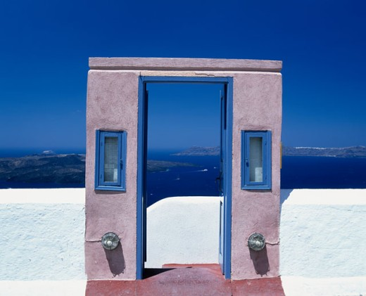 Entrance of a hotel, Santorini, Cyclades Islands, Greece : Stock Photo