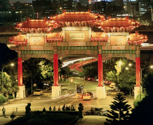 Stock Photo: 1269-1422 High angle view of an entrance gate lit up at night, Taipei, Taiwan